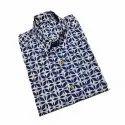 Cotton Blue Mens Collar Neck Casual Wear Printed Shirt
