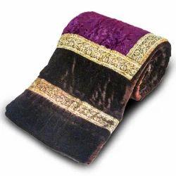Jaipuri Dark Brown Printed Double Bed Velvet Quilt 404