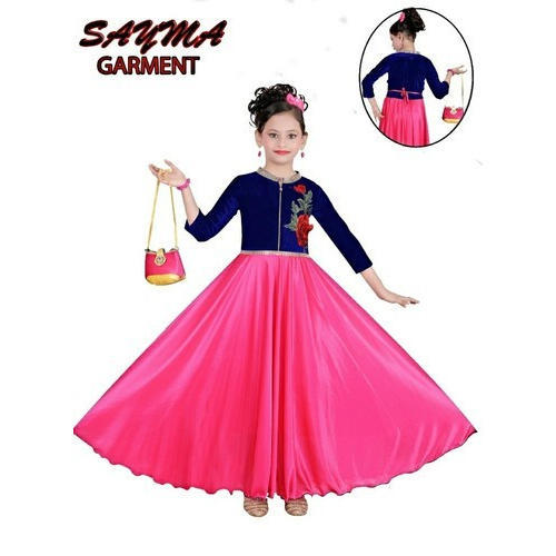 9893b96c0 Velvet And Bright Leikra Wedding Wear Kids Fancy Gown, Size: Small And  Medium