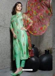 Pista Green Unstitched Ladies Silk Suit, Machine wash