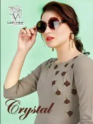 Crystal-Thankar Rubby Cotton With Hand Work Girl For Fancy Kurtis