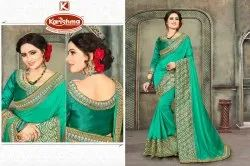 Heavy Border Saree With Embroidered Blouse - Sony-3