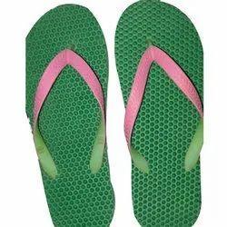 Men Green Rubber Slipper, Size: 5-10