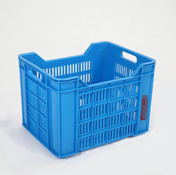 Blue Rectangular Fruit Plastic Crates, Capacity: 13 L