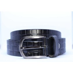 Romolo Textured Black Leather Belt