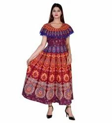 Indian Mandala Print Pom Pom Attached Frock