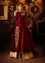 Designer Taffeta and Silk Party Wear Lehenga Suit