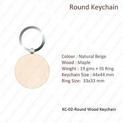 Wooden KeyChain-KC-02-Round-Wood
