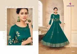 Amorina Vol -5 Maslin Satin Silk Party Wear Designer Long Gowns
