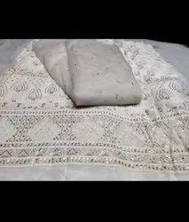 Embroidered Pure Chiffon Sequin Zig Zag Fabric