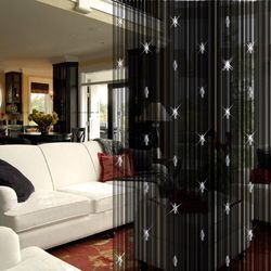 Silver And Red & Etc Chiffon And Georgette & Silk Decorative Curtain, Shape: Horizontal Vertical
