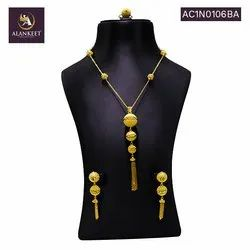 Ethnic One Gram Gold Plated Designer Pendant Set with Earring for Women and Girls.
