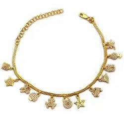 OE0632-11 925 Sterling Silver Gold Plated Anklet