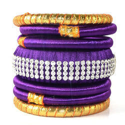 Handmade Decorated Silk Thread Bangles Girls Choice Bracelet