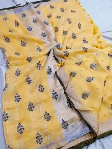Pure Linen All Over Zardosi Work Saree With BP