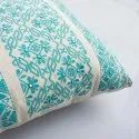 Green Embroidery Cotton Cushion Cover