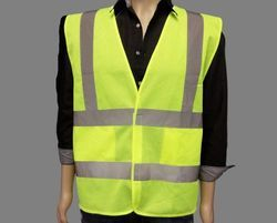 Lime Yellow Without Sleeves 1 Inch Kasa Life Reflective Jacket, For Construction
