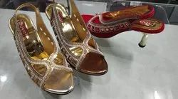 Royal gold Pencil Heel Party wear sandle, Size: 6to11