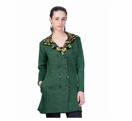 f10936becad0 Regular Fit Woolen Montrex Green Long Coat For Women