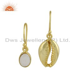 Mother of Pearl Gemstone Cowrie Gold Plated Silver Earrings