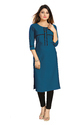 Teal Coloured Crepe Kurti