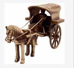 Horse Cart Brass Showpiece