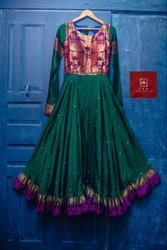 Ladies Navy Blue Silk Paithani Dress
