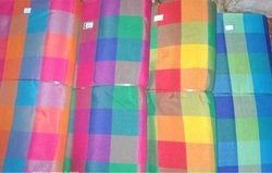Poly Cotton Check Fabric for Ladies Garments, GSM: 100-150