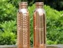 Hammered and Plain Copper Bottle