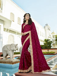 Vichitra Silk Embroidered Party Wear Saree