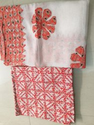 Cotton White and Pink Applique Work Unstitched Salwar Suit