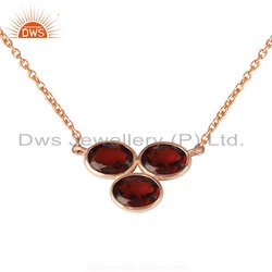 Garnet Gemstone Rose Gold Plated Designer Silver Pendant Necklace