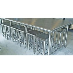 Polished Stainless Steel SS Stool Dining Table, For Hotel