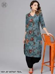 Teal Printed Kurta Set with Baloon Pant