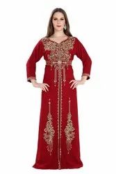 Maroon Jalabiya Maxi Dress