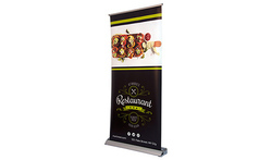 Deluxe Wide Base Single Screen Roll Up Banner Stands, For Easy To Set-up Store When Not In Use