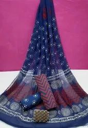 Exclusive Natural Bagru Hand Block Printed Cotton Suits With Chiffon Dupatta.