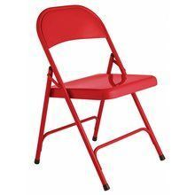 18'' Sitting Height Red Metal Fol3 Metal Foldable Chair, For Cafe, Home & Restaurant