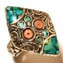 Turquoise Stone Vintage Style Women Nepali Engagement Ring Design