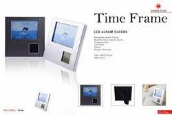 Plastic White LCD Alarm Clock, Shape: Square