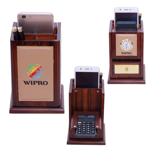Table Top Revolving Tumbler Square With 4 Sides Leather With Calculator Watch & Drawer