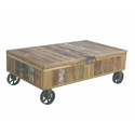 Reclaimed Wood Storage Coffee Table With Wheel