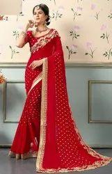 Red Nepal Bridal Georgette Saree