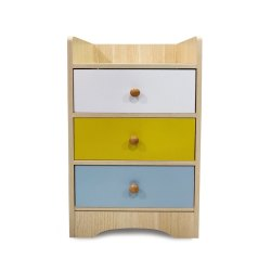 Kawachi Modern Home Bedroom Bedside Table Storage Cabinet with 3 Drawers