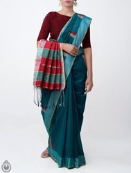 Linen Art Silk Saree with Tassels