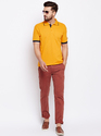 100% Cotton Men Half Sleeve Polo Neck Yellow T-Shirt