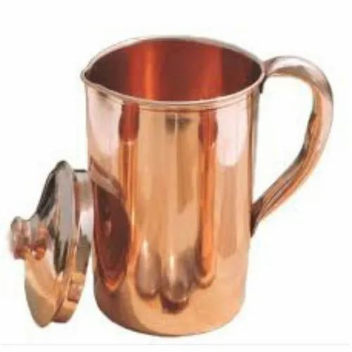 Bronze Cylindrical Plain Copper Jug, Capacity: 1.5 L, Packaging Type: Box