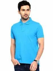 100% Blue Cotton Polo T Shirt Turquoise