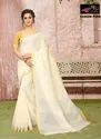 Sangini Off White Pure Linen Cotton Saree