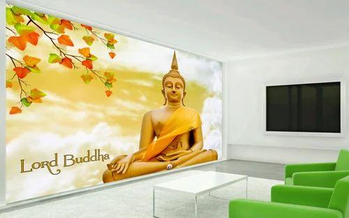 multi horizontal buddha hd textured wall paper size custom rs 20
